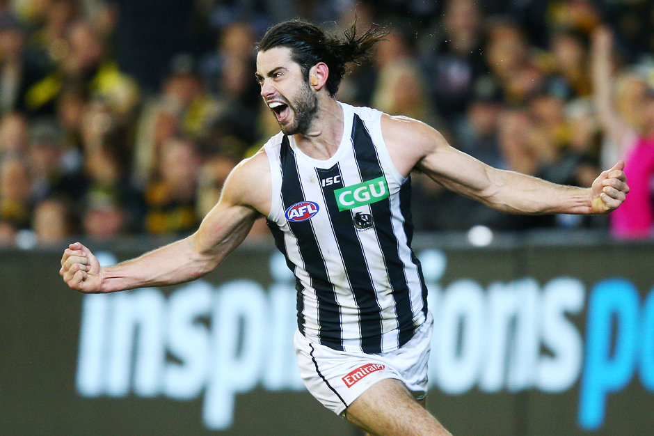 Brodie Grundy celebrating